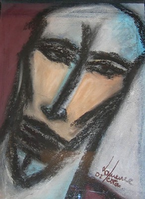Visage - Pastel sur papier - Collection privée France