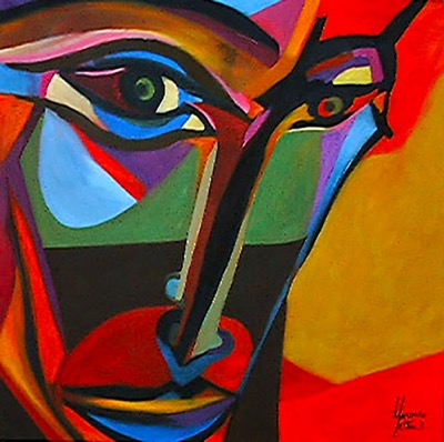 Face - Oil on canvas - 150x150cm - Private collection Italy